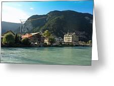View Of Interlaken Across The Stream Greeting Card