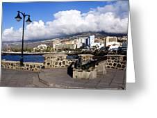 View Of Puerto De La Cruz From Plaza De Europa Greeting Card
