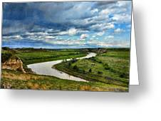 View Of River With Storm Clouds Greeting Card