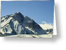 View Of Snow-covered Mountain Ridges Greeting Card