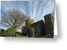 View Of St Mary Church And Clouds In Dover Castle Greeting Card