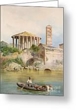 View Of The Sbocco Della Cloaca Massima Rome Greeting Card