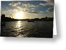 View Of The Thames At Sunset With London Eye In The Background Greeting Card