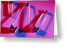 View Of Three Safety Pins Greeting Card