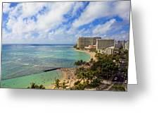 View Of Waikiki And Beach Greeting Card