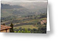 View Over The Tuscan Hills From San Gimignano Italy Greeting Card