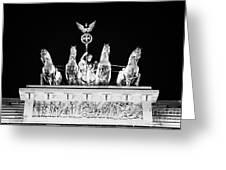 viktoria with quadriga on top of the Brandenburg gate at night Berlin Germany Greeting Card