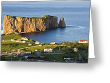 Village And Perce Rock At Sunset Greeting Card
