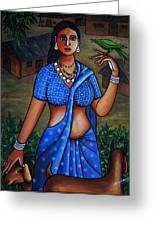 Village Girl Greeting Card by Johnson Moya