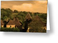 Village Of Castelnau Bretenoux In Sepia Greeting Card