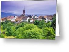Village Of Rottelsheim, Alsace, France Greeting Card