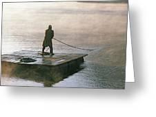 Villager On Raft Crosses Lake Phewa Tal Greeting Card