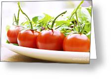Vine Tomatoes On A Salad Plate Greeting Card