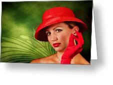 Vintage - Red Hat Lady Greeting Card