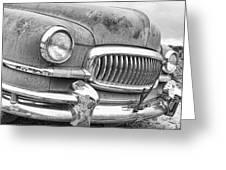 Vintage 1951 Nash Ambassador Front End 2 Bw Greeting Card