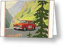 Vintage Austrian Rally Poster Greeting Card by Mitch Frey