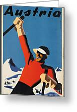 Vintage Austrian Skiing Travel Poster Greeting Card
