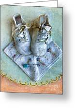 Vintage Baby Shoes And Diaper Pin On Handkercheif Greeting Card