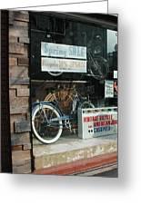 Vintage Bicycle And American Junk  Greeting Card