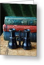 Vintage Binoculars And Books Greeting Card