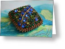 Vintage Blue And Green Rhinestone Brooch On Watercolor Greeting Card