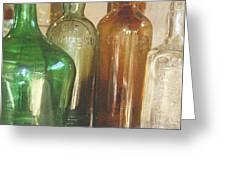Vintage Bottles Greeting Card by Georgia Fowler