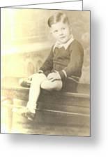 Vintage Boy Crossed Leg Greeting Card