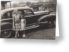 Vintage Car Woman And Girl Greeting Card