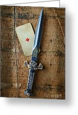 Vintage Dagger On Wood Table With Playing Card Greeting Card