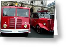 Vintage Fire Truck Duo Greeting Card