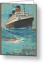 Vintage French Line Travel Poster Greeting Card