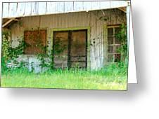Vintage Gas Station In Springtime  Greeting Card