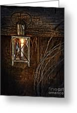 Vintage Lantern Hung In A Barn Greeting Card