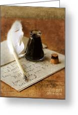 Vintage Letter And Quill Pen Greeting Card