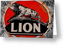 Vintage Lion Oil Sign Greeting Card