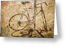 Vintage Looking Bicycle On Brick Pavement Greeting Card