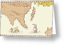 Vintage Map Treasure Island Tall Ship Whale Greeting Card