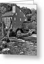 Vintage Mill In Black And White Greeting Card