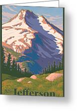 Vintage Mount Jefferson Travel Poster Greeting Card