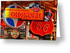 Vintage Neon Sign Oldsmobile Greeting Card