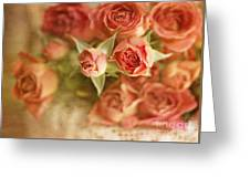 Vintage Peaches N Creme Spray Roses Greeting Card by Susan Gary