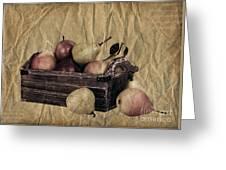 Vintage Pears Greeting Card by Jane Rix