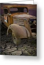 Vintage Pickup On Parched Earth Greeting Card