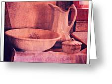 Vintage Pitcher And Wash Basin Greeting Card