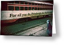 Vintage Pittsburgh Trolly Greeting Card