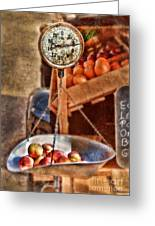 Vintage Scale At Fruitstand Greeting Card