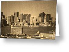 Vintage Style Boston Skyline 2 Greeting Card