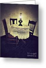 Vintage Table And Chairs By Oil Lamp Light Greeting Card