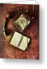 Vintage Telephone And Notebook. Greeting Card