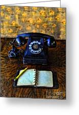 Vintage Telephone And Notepad Greeting Card